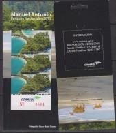 E)2012 COSTA RICA, MANUEL ANTONIO, NATIONAL PARKS, BEACH, DEER, SOUVENIR SHEET, MNH - Costa Rica
