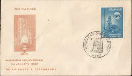 First Day Cover India, 1962, FDC, Gauhati Oil Refinery, Energy, Rhino Animal, Rhinoceros, - Lettres & Documents