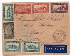 1937 - ENVELOPPE De MEKNES Avec CACHET Du 84° (?) REGIMENT D'ARTILLERIE D'AFRIQUE Pour Le CANADA - Marruecos (1891-1956)