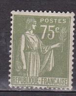 N° 284A Type Paix 75c Olive:   Timbre Neuf Sans Charnière  Gomme D´Origine - 1932-39 Paix