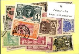 25 Timbres Cote D´ivoire Avant Indépendance