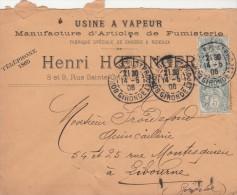 Yvert 111 X 2 Paire Verticale Blanc Sur Lettre Entête Henri Hoefinger Articles Fumisterie Bordeaux St Projet 1906 - Francia