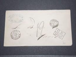 URUGUAY - Env Taxée 1,20 F + 1.60 F, De Montevideo Pour Le Havre (France) Par Voie Anglaise - Paq Fr - Oct 1871 - P17141 - Uruguay