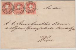 25963  Austria 1858 5 Kr (3) From BOEH. LEIPA, On An 1859 Entire To Wien - 1850-1918 Empire