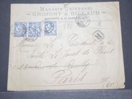 ALEXANDRIE  - Env Recommandée D´Alexandrie Pour Paris Avec 3 X N° 27 - Oct 1904 - A Voir - P17152
