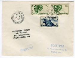 """Griffe """" Troisième Circuit De Vitesse De Tananarive Ivato 30 Mai 1954 """" Sur Enveloppe Référence 504 - Madagascar (1889-1960)"""