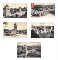 46 - CAHORS - Lot De 5 Cpa -  Le Pont Valentré - 10 Scans - - Cahors