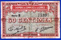 BON - BILLET - MONNAIE - 50 CENTS CHAMBRE DE COMMERCE DE LA CORREZE 19100 BRIVE LA GAILLARDE TULLE N° 75397 AVANT 1920 - Chambre De Commerce