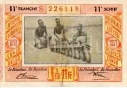 Loterijbiljet / Loterie Coloniale / Congo Belge / Koloniale Loterij / Belgisch Congo / 1951 - Loterijbiljetten