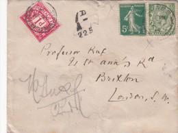 1914 LETTRE ÎLE WIGHT COWES. AFFRANCHISSEMENT MIXTE POUR LONDRES. TAXE 1D. COVER. MIXT. ISLE OF WIGHT TO LONDON /  409 - Marcophilie (Lettres)