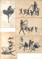 5 CPAs 1900s SILHOUETTES SILUETAS RARISIMES SOLD AS IS - Silhouetkaarten