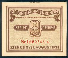 """Deutschland, Germany - """" REICHSLOTTERIE """", ORIGINAL - PRÄMIENSCHEIN, 1938 ! - Lotterielose"""