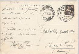 1944 RSI C. 50 PA Uso Singolo Tardivo In Emergenza Cartolina Postale Da Mirano (Venezia) Per S. Lucia Di Piave (Treviso) - Marcofilía