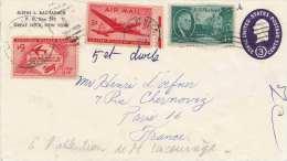 USA 1950? - 3 C Ganzsache + 3 Flugpostmarken Auf Briefstück Gel.New York > Paris - Vereinigte Staaten