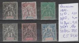 TIMBRES DE FRANCE OBLITEREES ( REUNION)  Nr 32°-34/5°-32* SIGNEE-39(*)-37(*) ANNEE 1892 COTE 51.30€ - Réunion (1852-1975)