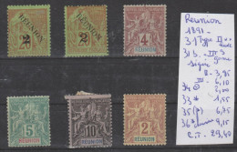 TIMBRES DE FRANCE OBLITEREES + NEUF ( REUNION)  Nr 31 TYPE II **- 31B S GOMME SIGNEE 34°-33*-35(*)-36* 1891 COTE 29.40€ - Réunion (1852-1975)