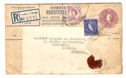 GB ENTIER POSTAL LETTRE RECOMMANDÉ COVER COMPENSATION 21/10/1957 OVER REGISTERED POUR BORDEAUX - 2 Scans - - Luftpost & Aerogramme