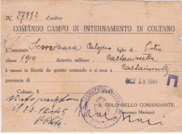 Prigionieri Di Guerra -Comando Campo Di Internamento Di Coltano--Italy Italia - 1900-44 Vittorio Emanuele III