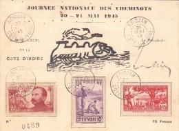 1945. RARE CARTE JOURNÉE NATIONALE DES CHEMINOTS. COMITÉ LOCAL DE LA COTE D'IVOIRE ABIDJAN /  2905 - Côte-d'Ivoire (1892-1944)