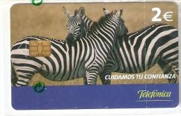 P-572 TARJETA DE CUIDAMOS TU CONFIANZA DE LAS CEBRAS DE 2 EUROS Y FECHA DEL 09/05   (NUEVA-MINT) - Espagne
