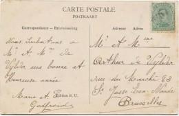 TP 137 Type 5 Annulé Par La Griffe De Jette En Fortune S/CP V.St.Josse-ten-Noode  Pas Courant  PR2640 - Postmark Collection