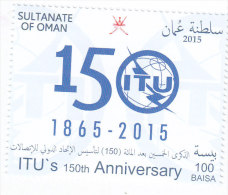 Oman New Issue 2015, 150th Ann ITU  1 Stamp Complete Set MNH - - Oman