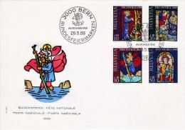 FDC 1969 Kunst Und Kunsthandwerk, Historische Glasgemälde. B 142 - 145 - Pro Patria