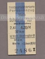 Pappfahrkarte Deutsche Reichsbahn --> Warin - Schwerin (Sonntagsrück) - Railway