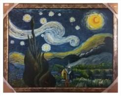 """""""la Noche Estrellada / The Starry Night"""" Assam, Reproduction / Postimpressionism,  53 Inches X 41.5 Inches, 2010, Oil On - Oils"""