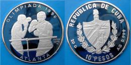 CUBA 10 P 1994 ARGENTO PROOF 999 OLIMPIADA 1996 BOX ATLANTA PESO 20g TITOLO 0,999 CONSERVAZIONE FONDO SPECCHIO - Cuba