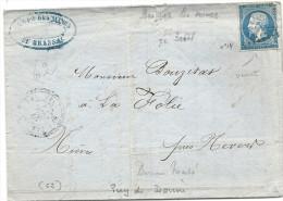 Puy De Dome - Brassac Pour La Folie (Nièvre). PC + CàD Perlé Type 22. Indice 9. MINES - 1849-1876: Classic Period