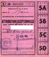 CARTES DE RATIONNEMENT ATTRIBUTION EXCEPTIONNELLE POUR ENFANT DE MOINS DE UN AN  Carte De Charbon - Documents Historiques