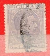 Cuba-1884-2 Alfonso XII 5c De Peso - Oblitération Illisible - Oblitérés