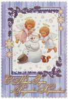 UKRAINE. MERRY CHRISTMAS AND HAPPY NEW YEAR! KIDS ANGELS AND SNOWMAN, SQUIRREL. Unused Postcard - Engelen