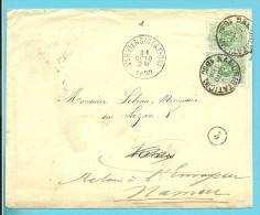 45 Op Brief Met Stempel NAMUR (STATION) Op 29/10/1890 Naar VERVIERS, Verso Stempel INCONNU A L'APPEL / LE FACTEUR-TRIEUR - 1869-1888 Lion Couché