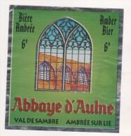 BIERE ABBAYE D AULNE ( VITRAIL, VUE DE L ABBAYE ) BRASSERIE DU VAL DE SAMBRE GOZEE THUIN BELGIQUE  - VOIR LE SCANNER - Bière