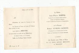 Invitation , Poitiers , 1950 , Aumonier Du Lycée Collége Saint Joseph , RECITAL - Faire-part