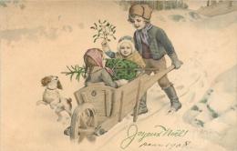 Vienne, Joyeux Noël, 3 Enfants Et Brouette, Chien épagneul, Sapin Et Gui, M M Munk 394, écrite 1908 - Vienne