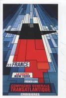 Paquebot France Petit Frère Du Paquebot Normandie CP Affiche Bainbridge Vers 1962 (expo Art De Vivre à Bord) - Piroscafi