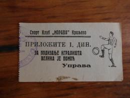 Football Morava Kraljevo Serbia Around 1930 RRR - Match Tickets