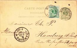 Postkarte Von 1889 Von Belgien Nach Hamburg-St.Pauli - Historical Documents