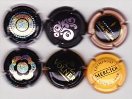 6 Capsules Muselets 3 Val De Loire 1 Feuillate 1 Volner 1 Mercier - Capsules & Plaques De Muselet