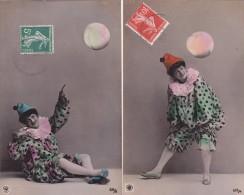 ¤¤  -  Lot De 2 Cartes   -  Colombine Avec Un Ballon   -  ¤¤ - Fantaisies