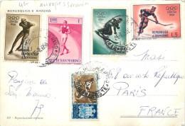 SAINT MARIN - Carte Illustrée Par Des Timbres Sur Les Sports. - Saint-Marin