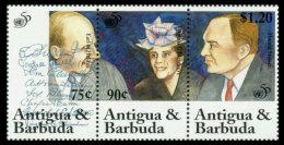 Antigua And Barbuda, 1995, United Nations 50th Anniversary, MNH, Michel 2149-2151 Strip - Antigua And Barbuda (1981-...)