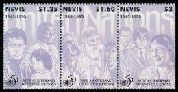 Nevis, 1995, United Nations 50th Anniversary, MNH, Michel 948-950 Strip - St.Kitts-et-Nevis ( 1983-...)