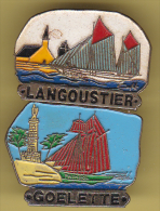 48773-lot De 2  Pin's.Voiliers.bateaux.Goelette.Langoustier. . - Barcos