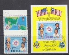 Liberia 1976 US Bicentennial 2v + M/s Used Cto (27407) - Liberia