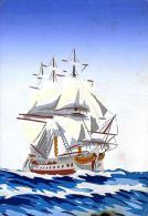 [MD0633] CARTOLINA - VELIERO - DIPINTA A MANO - NV - Sailing Vessels