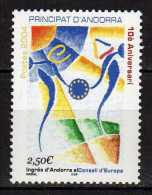 Andorra,French Andorra 2004 The 10th Anniversary Of Andorrean Entry To The European Council.MNH - Neufs